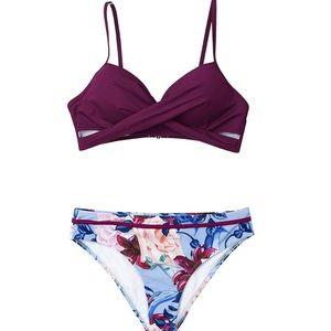 Cupshe Wrap Top Floral Bottom Bikini Set, L - NWT